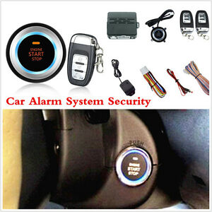Car Alarm System Security Vibration Alarm Push Button Remote Engine Starter D7