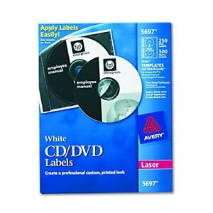 Avery Cd Labels White Matte 250 Cd Labels And 500 Case Spine Labels 5697