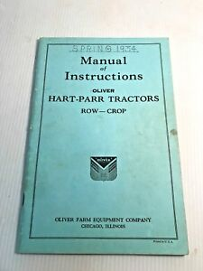 1934 Oliver Hart parr Manual Of Instructions Tractors Row Crop Engine