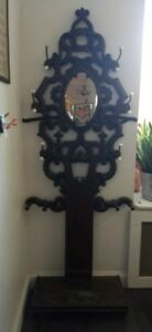 Antique Rococco Victorian Hall Tree Coat Rack Carved Wood And Brass