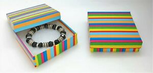 6 Rainbow Stripes Jewelry Gift Boxes Cotton Filled 3 5x3 5x1 Bracelet Box