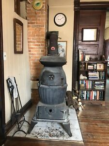 Antique Cast Iron Pot Belly Stove Circa 1890