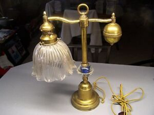 Beautiful Circa 1910 Weighted Brass Students Desk Lamp W Holophane Ruffled Shade