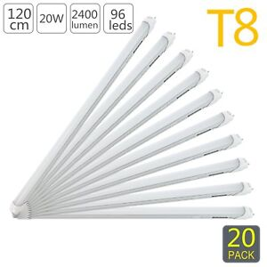 20pcs T8 Lamp Led Tube Light 4ft 20w 1200mm 3000k Warm White Milky Cover Q9