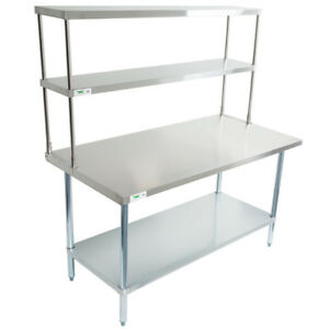 30 X 60 Stainless Steel Work Prep Table Commercial Overshelf Double 12 X 60
