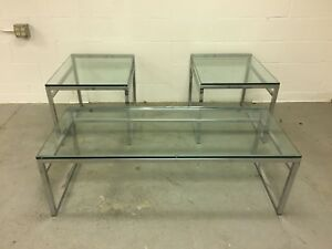 Mid Century Modern Chrome And Glass Coffee And End Tables