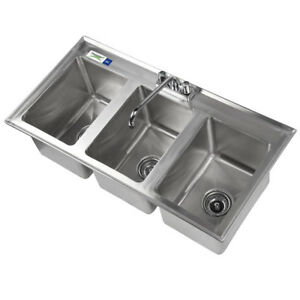 37 Three Compartment 10 x14 X10 Bowl Stainless Steel Drop In Sink W Faucet