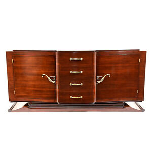 Stylish Modern French Art Deco Style 1930s Buffet Lacquered Mahogany W Brass