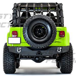 Full Width Rock Crawler Rear Bumper 2 Receiver Hitch For 97 06 Jeep Wrangler Tj