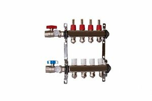 4 Loop branch 1 2 Pex Manifold With Ball Valve Stainless Steel Radiant Heating