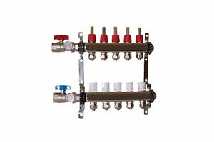 5 Loop branch 1 2 Pex Manifold With Ball Valve Stainless Steel Radiant Heating
