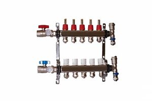 5 Loop branch 1 2 Pex Manifold Stainless Steel Radiant Floor Heating Set kit