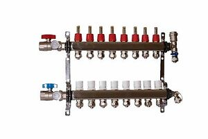 8 Loop port Stainless Steel Pex Manifold Radiant Heating