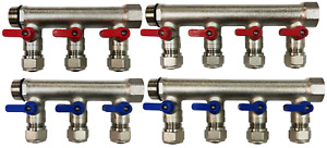 7 loop port Ball Valve Brass Manifold For 1 2 Pex
