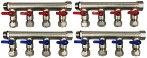 8 loop port Ball Valve Brass Manifold For 1 2 Pex