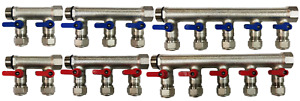 10 loop port Ball Valve Brass Manifold For 1 2 Pex