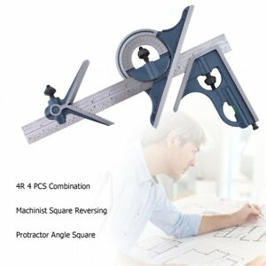 4r 4 Pcs Machinist Square Combination Reversing Protractor Angle Square Set Bn
