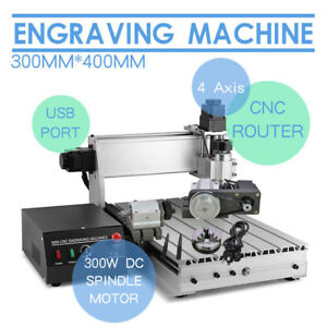 New 4 Axis 300w 3040t Cnc Router Engraver 3d Engraving Drilling Milling Machine