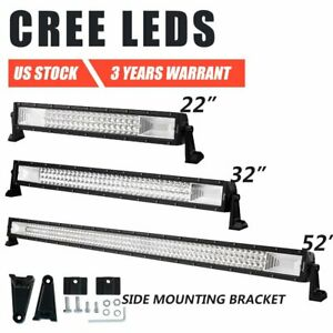 Tri Row 22 32 52 inch Cree Led Light Bar Spot Flood Combo Offroad Driving Atv