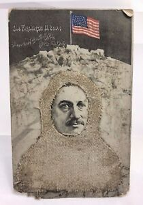 Antique 1905 Folky Collage North Pole Explorer Cook Arctic Discovery Postcard