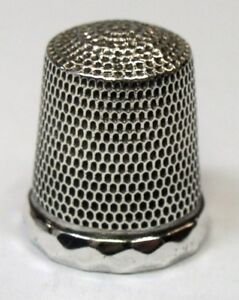 Antique Simons Bros Sterling Silver Thimble Faceted Rim French Knurl C 1890s