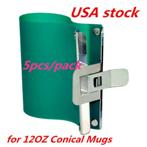 Us Stock 5pcs Sublimation Silicone Mug Wrap Cup Clamps For 12oz Conical Mugs