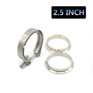 2 5 Inch Turbo Exhaust Down Pipe Stainless Steel V Band Clamp 2 Flange
