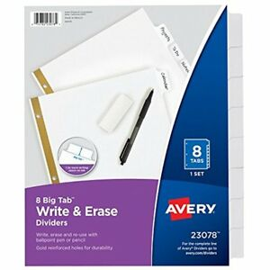 Binder Index Dividers Avery Big Tab Write Erase White Tabs 48 Sets 23078