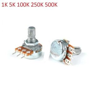 Single Linear Potentiometer Shaft Length 20mm 3 Pin 1k 5k 100k 250k 500k
