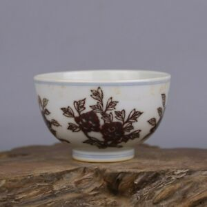 China Antique Hand Painted Ming Chenghua Underglaze Red Peony Flower Bowl Cup