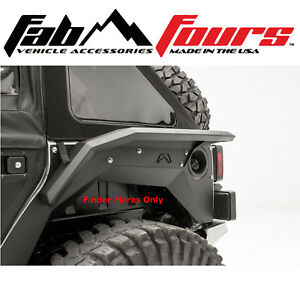 Fab Fours Smooth Body Armor Rear Fender Flare Set Matte Black 2007 2018 Jeep Jk