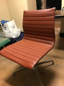 Herman Miller Eames Aluminum Group Chairs Leather Terracotta A Set Of Six
