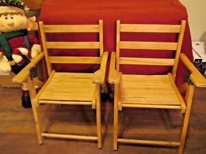 2 Vintage Wood Child S Folding Chairs Elementary School Church Home Decor