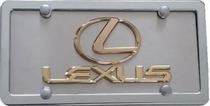 Lexus 3d License Plate Gold Plated Emblems Chrome Frame