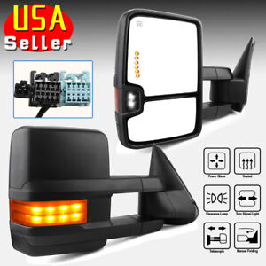 For 03 06 Chevy Silverado Towing Mirrors Power Heated Amber Signal Spot Light