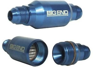 Big End Performance 12960 Billet In line Street Filter 40 Micron 6an Blue