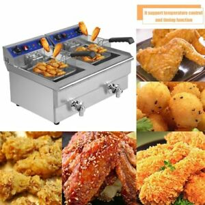 26l Commercial Deep Fryer W Timer And Drain Fast Food French Frys Electric Qn