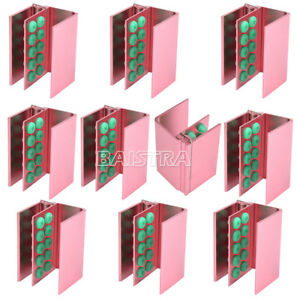 10x Dental Burs Holder 10 Holes With Silicon For Fg Ra Bur Pink