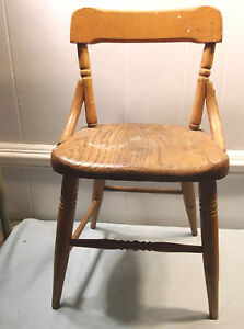 Vintage Antique Heywood Wakefield Wood Child Chair Furniture School Mission