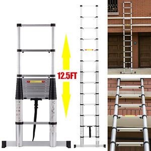 12 5ft Fully Automatic Telescopic Extension Ladder Aluminium Multi Purpose En131