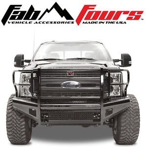 Fab Fours Ranch Black Steel Front Bumper 2017 2019 Ford Superduty F 250 F 350