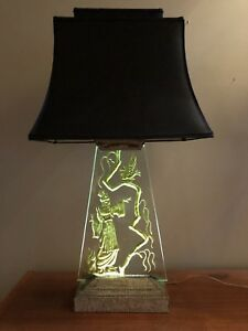Vintage Regency Table Lamp Etched Carved Glass Slab Illuminated Art Deco Asian