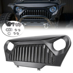 Front Grill Grille Angry Bird Fit Jeep Wrangler Tj 1997 2006 Matte Black Car