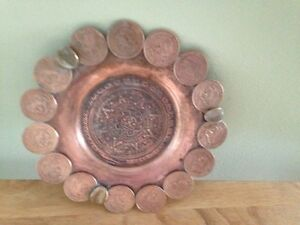 Vintage Mexican Change Coin Dish Ashtray Aztec Retro 1960s