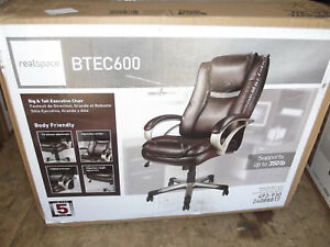 Realspace Btec 600 Big Tall High back Chair Executive Brown 493930 24088817
