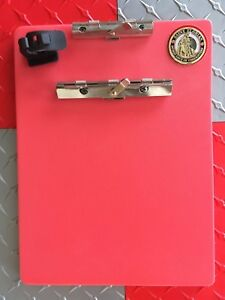 Firefighter Clip Board Rugged High Density Red Poly With Challenge Coin