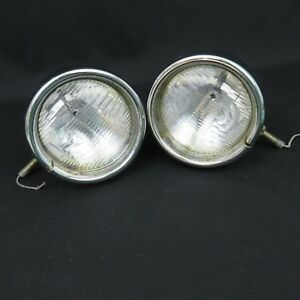 Vintage Pair 12 Volt Round Chrome Driving Fog Lights Clear Lens 4 3 4