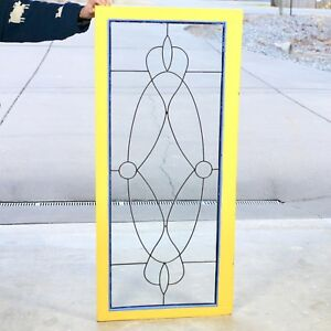 Old Antique 54 X 24 Leaded Glass Window Clear Glass Original 1910 Wooden Frame