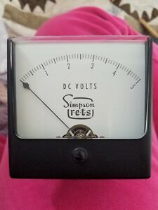 Simpson 0 5 Dc Amperes 3 Wide view Panel Meter New