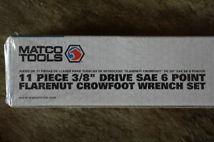 Matco Tools Flarenut Crowfoot Wrench Sae Standard 3 8 Drive 6 Point 10 Piece